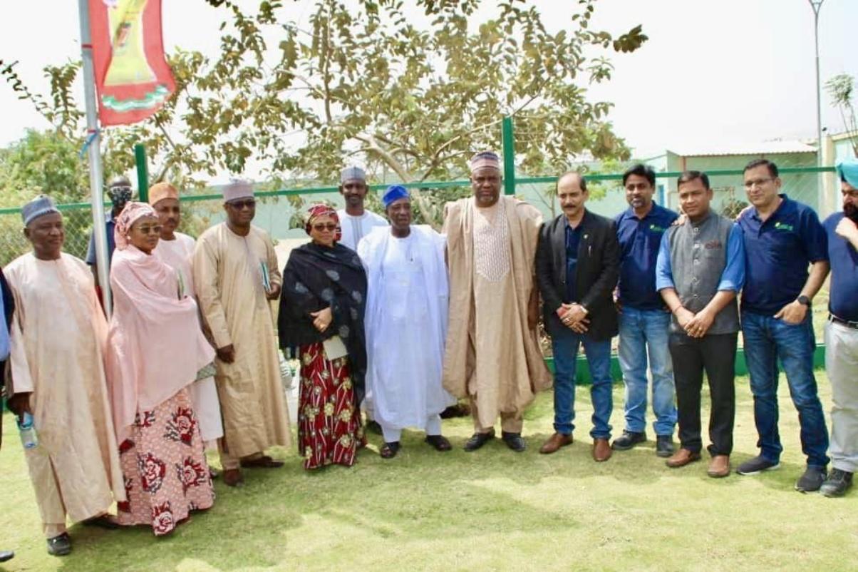 Minister Sabo Nanoso acompnaied by Prof Sabagi, Hon Munir Umar Baba, Mrs K I Babangida and many others at Stallion Group Rice Mills